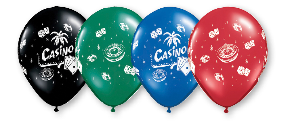 11 Inch Assorted Casino Balloons- 50 count