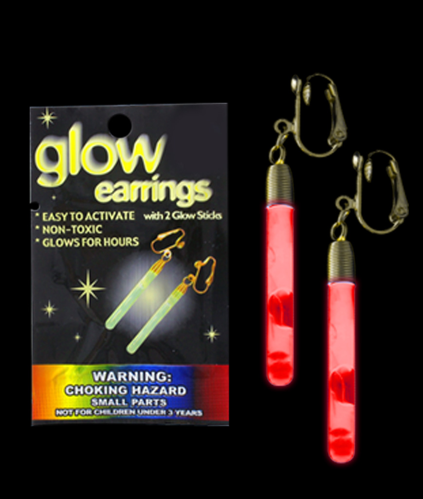 Glow Pendant Earrings - Red