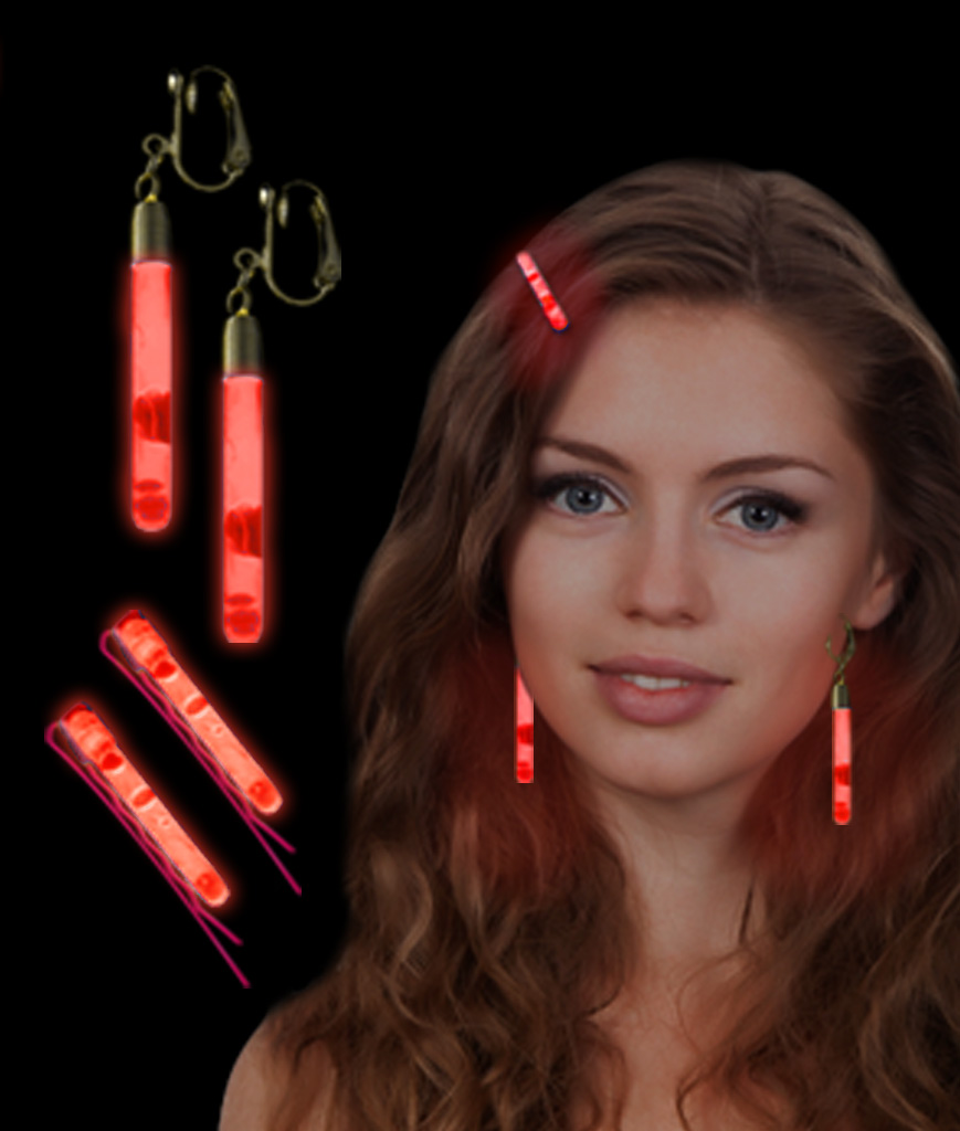 Glow Hair Pins And Earrings Set - Red