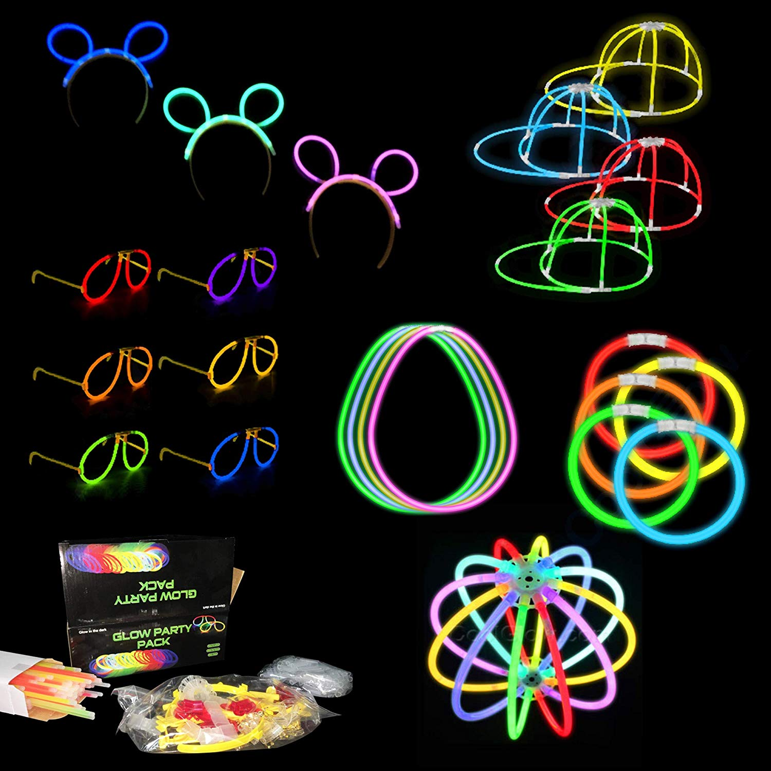 Fun Central BC906 8 Inch Glow in the Dark Party Pack - 200 Count Set