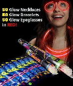 Fun Central AM735 Glow in the Dark Party Pack for 50 - Red