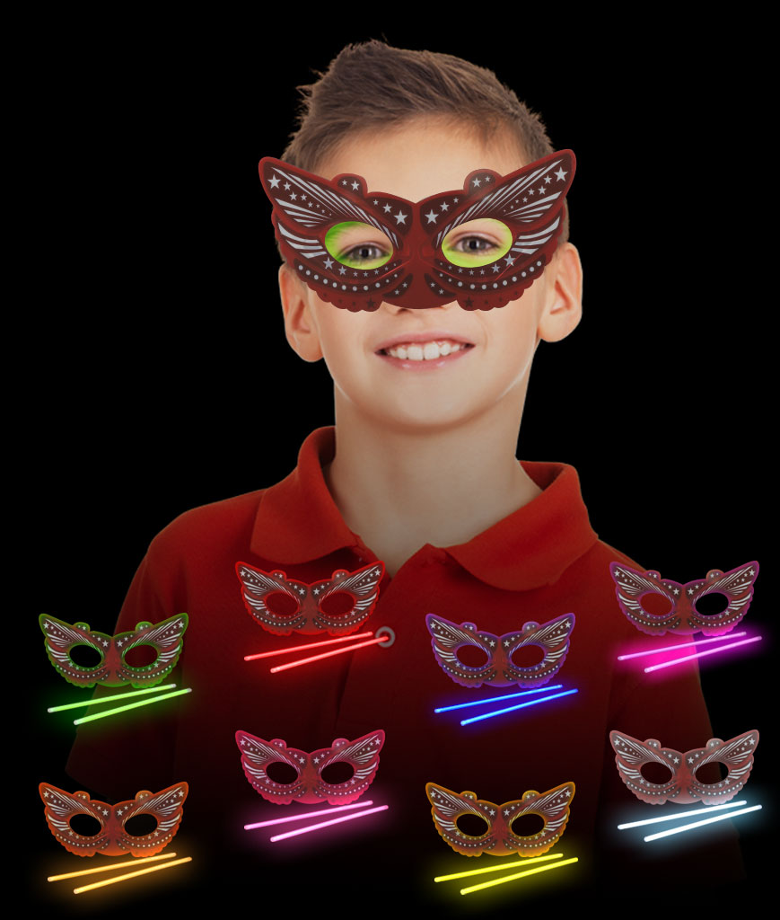 Glow Mardi Gras Mask - Assorted