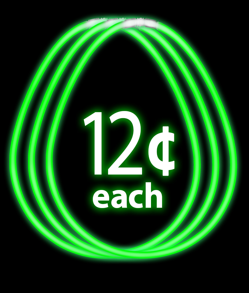 17 Inch Break Apart Glow Necklaces - Green