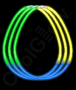 Fun Central B64 22 Inch Glow in the Dark Necklaces Green-Blue-Yellow