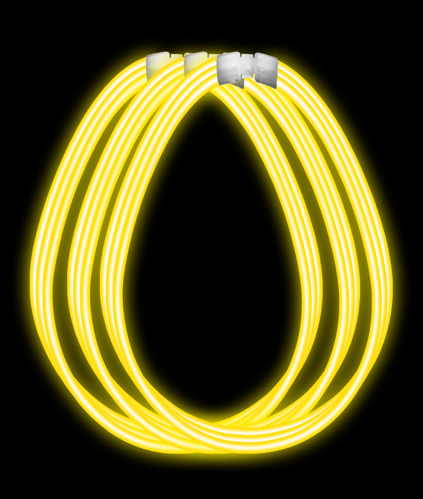 22 Inch Super Wide Glow Necklaces-Yellow