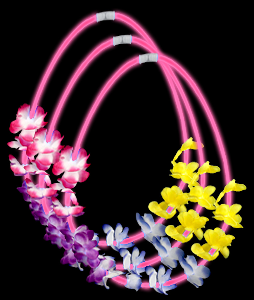 22 Inch Flower Lei Glow Necklaces - Pink