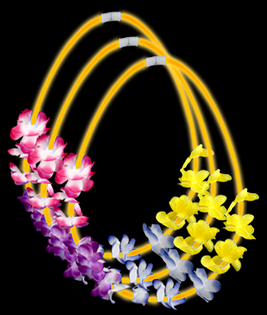 22 Inch Flower Lei Glow Necklaces - Orange