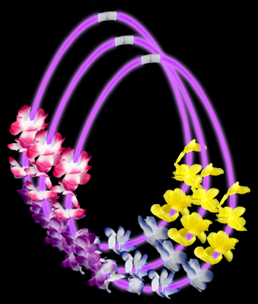 22 Inch Flower Lei Glow Necklaces - Purple