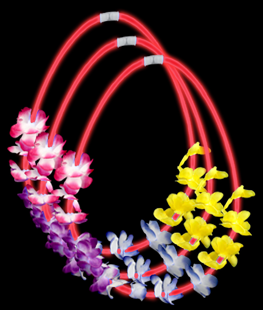 22 Inch Flower Lei Glow Necklaces - Red
