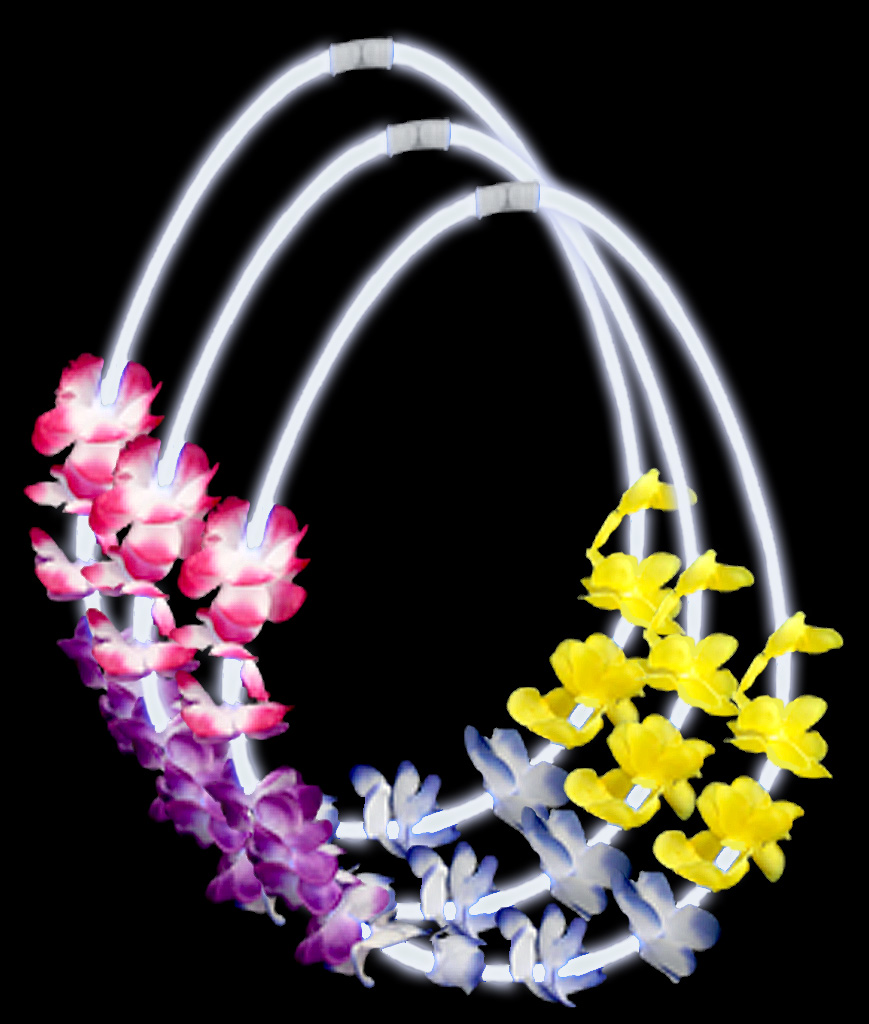 22 Inch Flower Lei Glow Necklaces - White