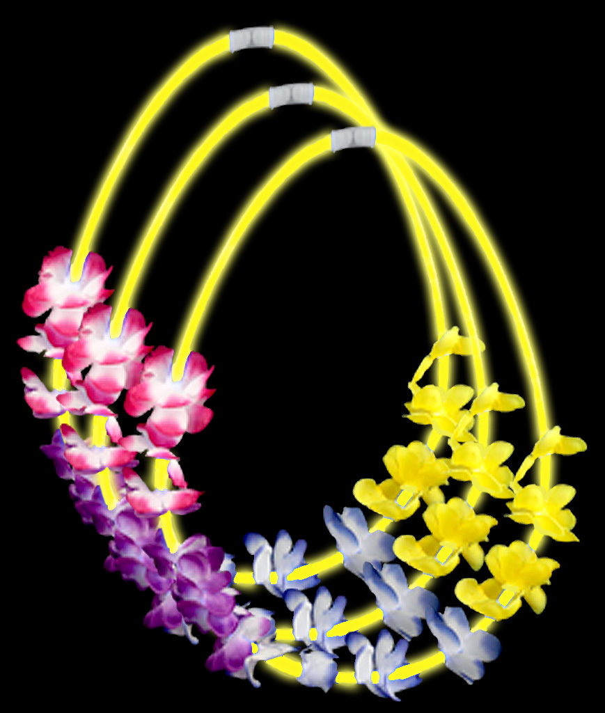 22 Inch Flower Lei Glow Necklaces - Yellow
