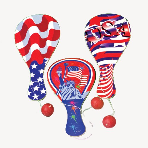 Patriotic Paddle Balls - 12ct