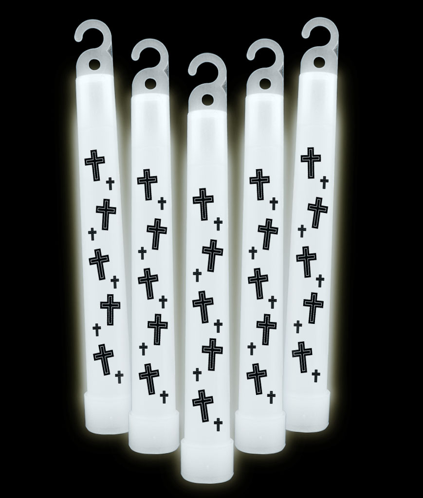 6 Inch Premium Religious Cross Glow Sticks- White