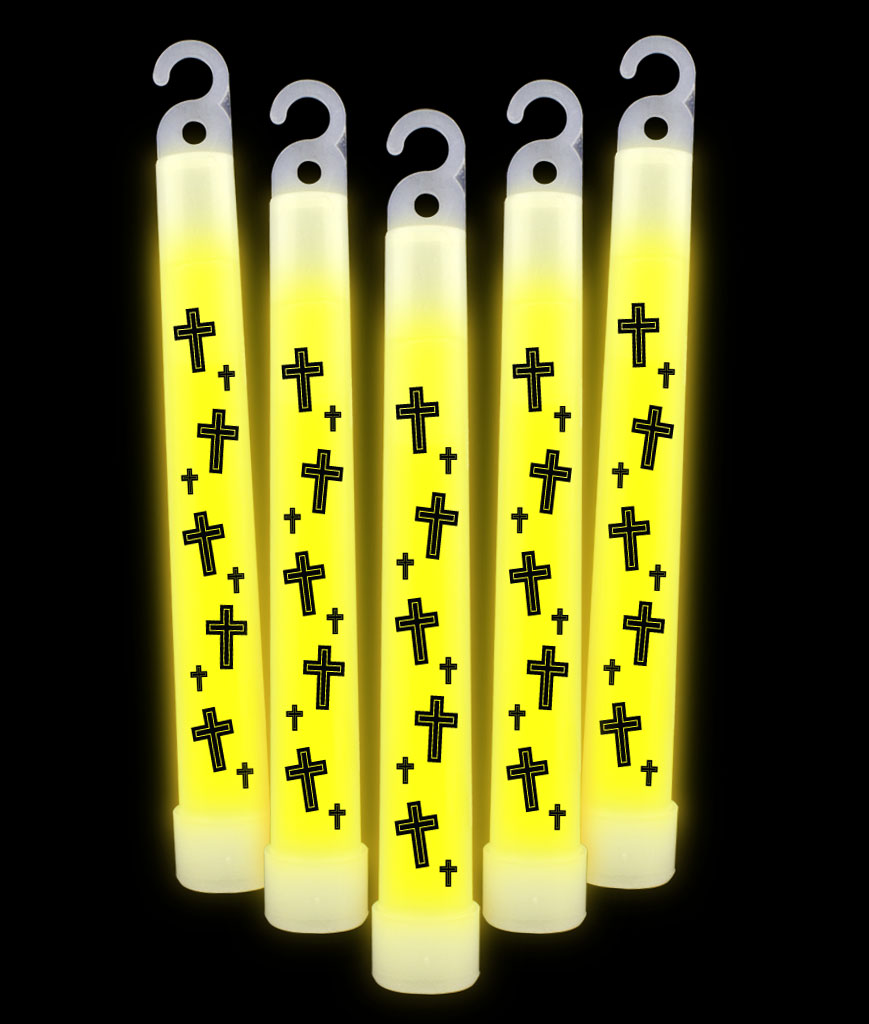 6 Inch Premium Religious Cross Glow Sticks- Yellow