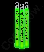 6 Inch Premium Happy Holidays Glow Sticks- Green