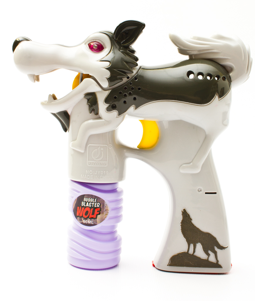 Fun Central AY938 LED Light Up Bubble Gun - Wolf - Grey