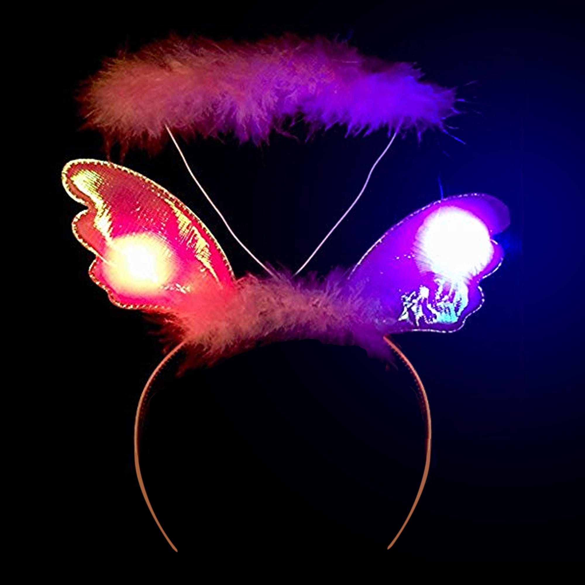 LED Plush Angel Headband - Pink