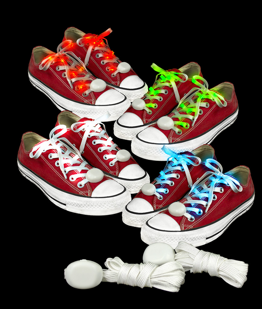 Fun Central AT930 LED Light Up Cloth Shoe Laces- Assorted