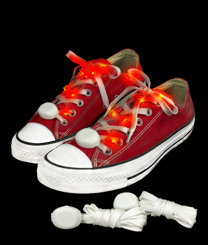 Fun Central AT933 LED Light Up Cloth Shoe Laces- Red