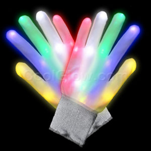 LED White Rainbow Gloves