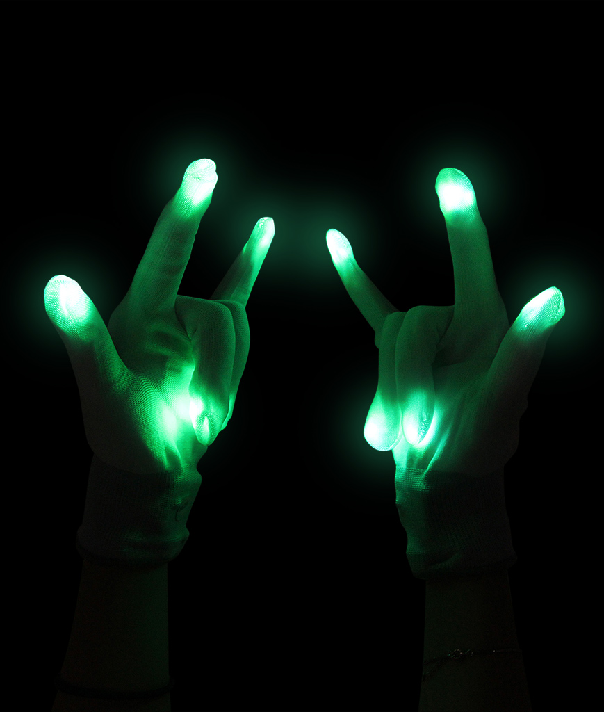 Fun Central G219 LED Light Up Gloves - White