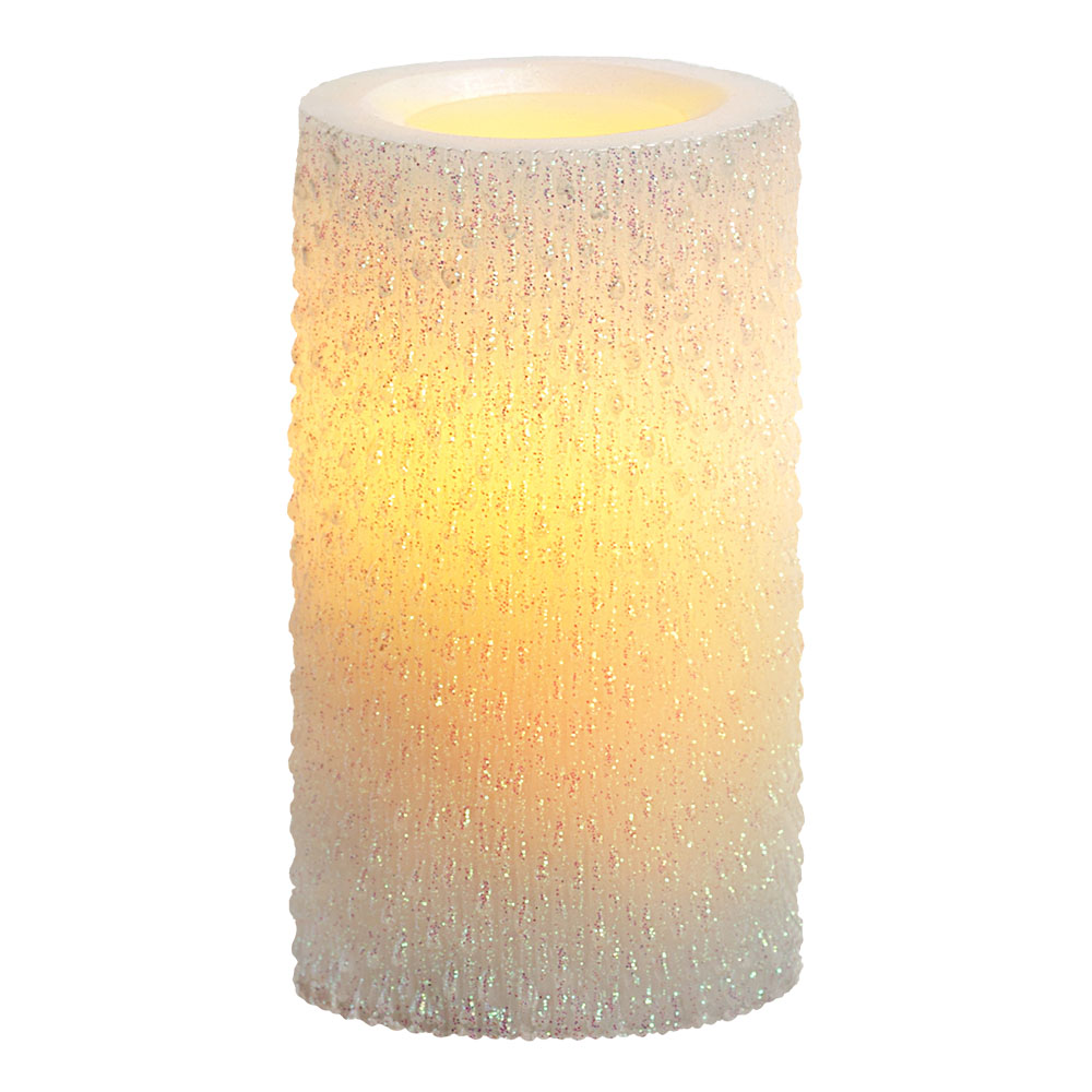 6 Inch Flameless Iridescent Icicle Pillar Candle with Timer - White Unscented