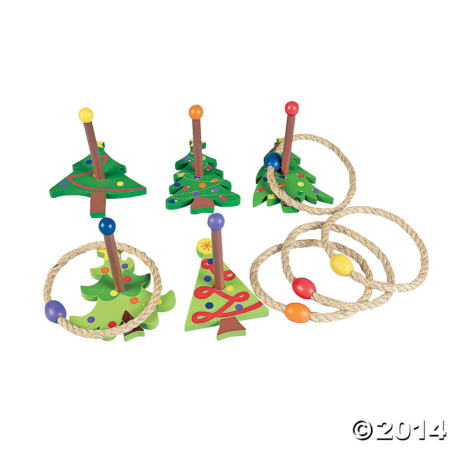 Wood Christmas Tree Ring Toss Game