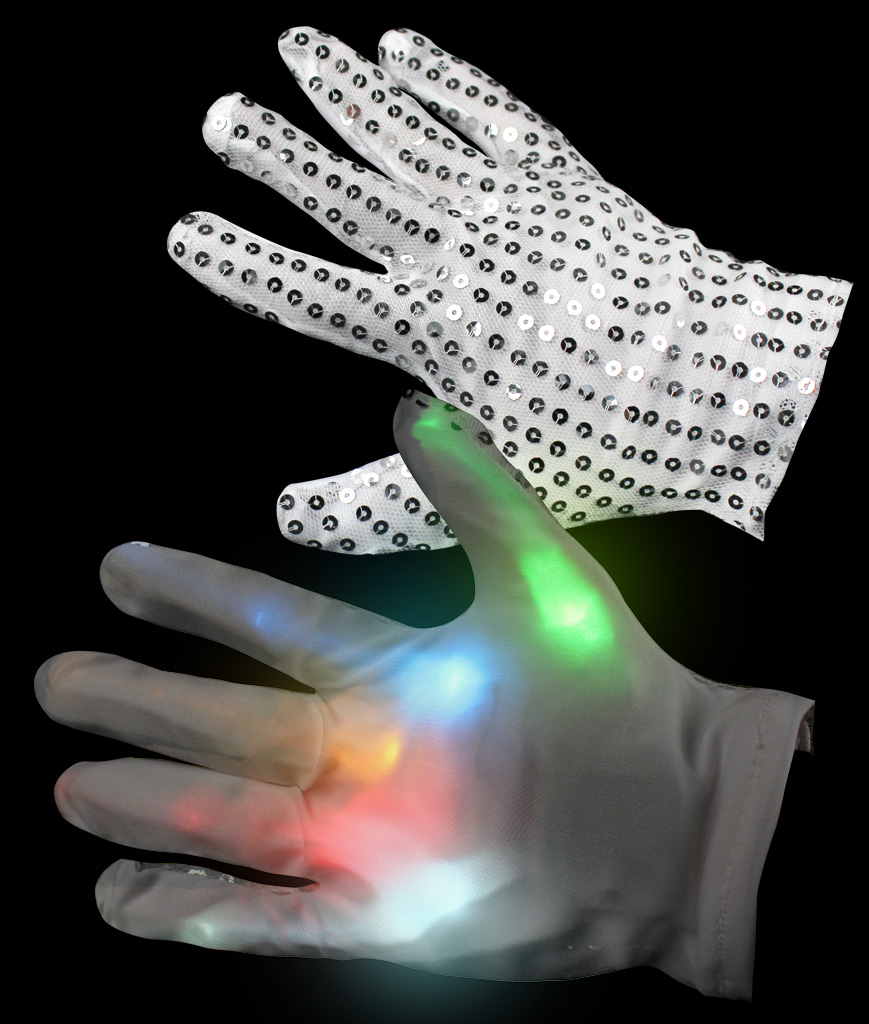 Fun Central G723 LED Light Up Sequin Rainbow Gloves