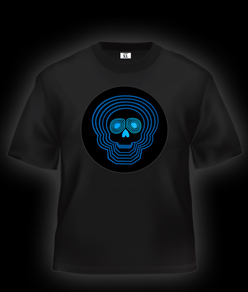 Fun Central O883 LED Light Up Sound Activated T-Shirt - Blue Skull