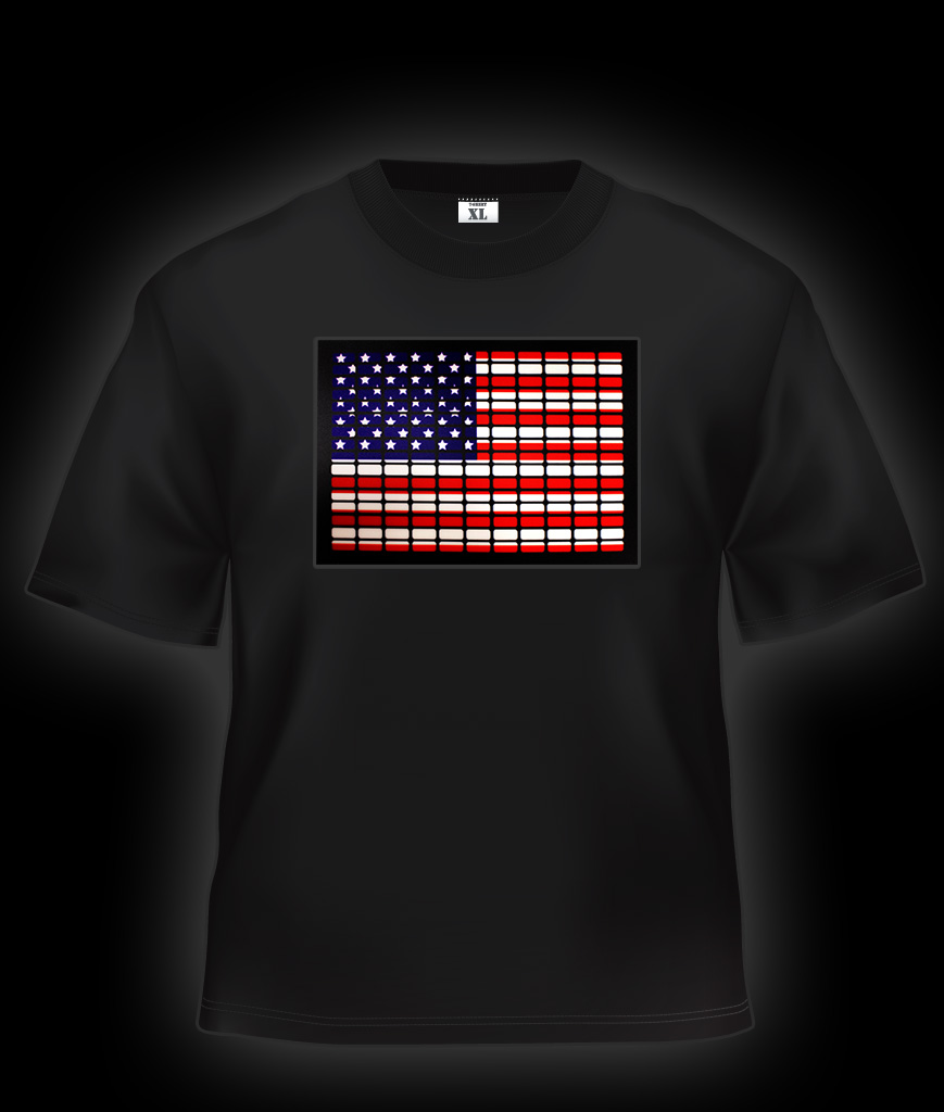 Fun Central AI666 LED Light Up Sound Activated T-Shirt -USA Flag