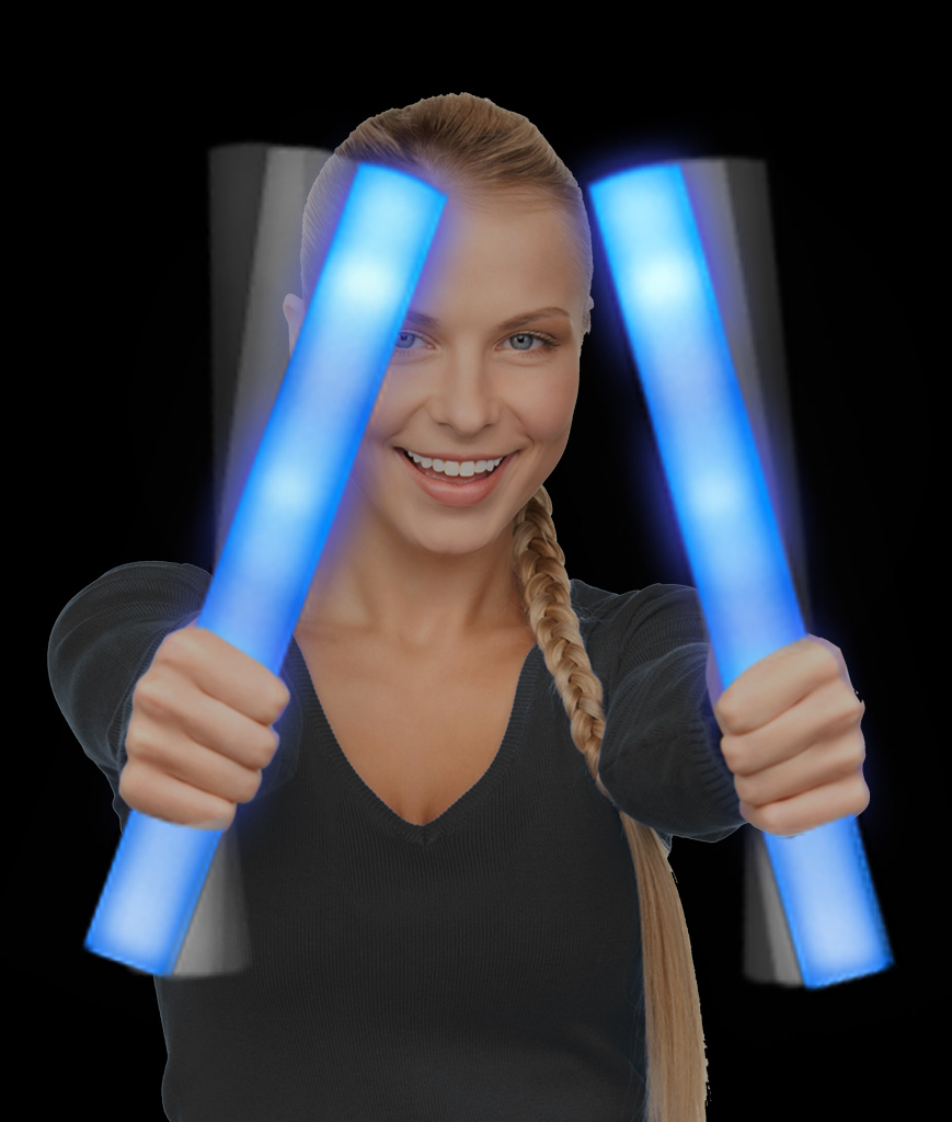 LED Foam Stick Baton Supreme - Blue - 12 Pack