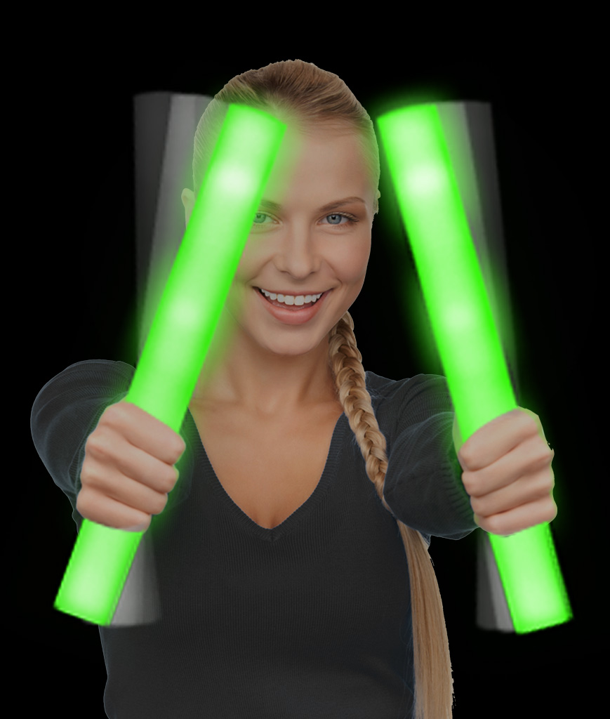 LED Foam Stick Baton Supreme - Green - 12 Pack