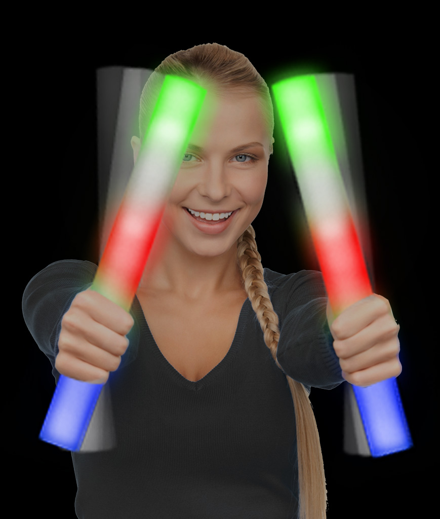 Fun Central AC894 LED Foam Stick Baton Supreme - Multicolor - 12 Pack