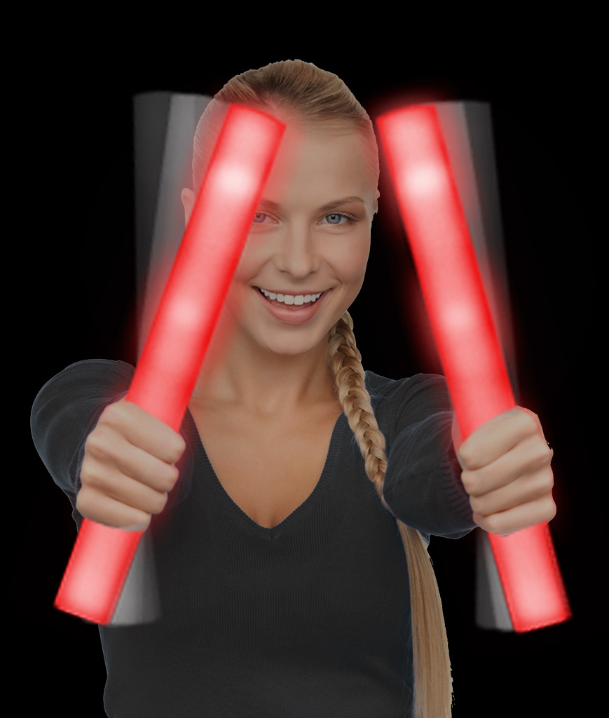 LED Foam Stick Baton Supreme - Red - 12 Pack