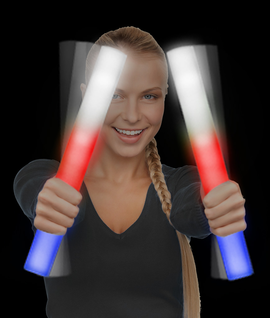 LED Foam Stick Baton Supreme - Red-White-Blue - 6 Pack