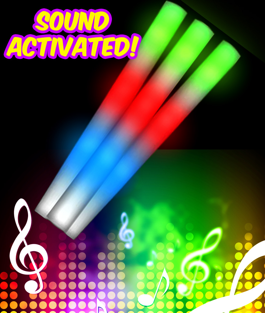 Fun Central C521 LED Light Up Sound Activated Foam Stick Baton - Multicolor