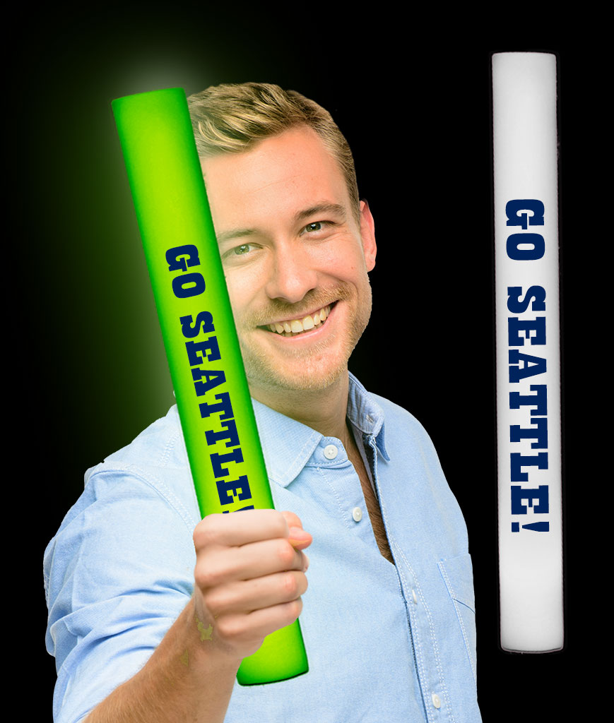 LED Go Seattle Foam Stick Baton - Green 12ct