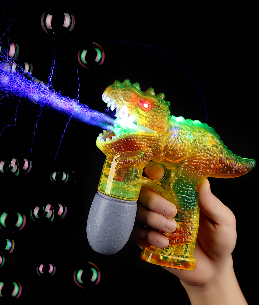 LED Dinosaur Bubble Gun - Yellow