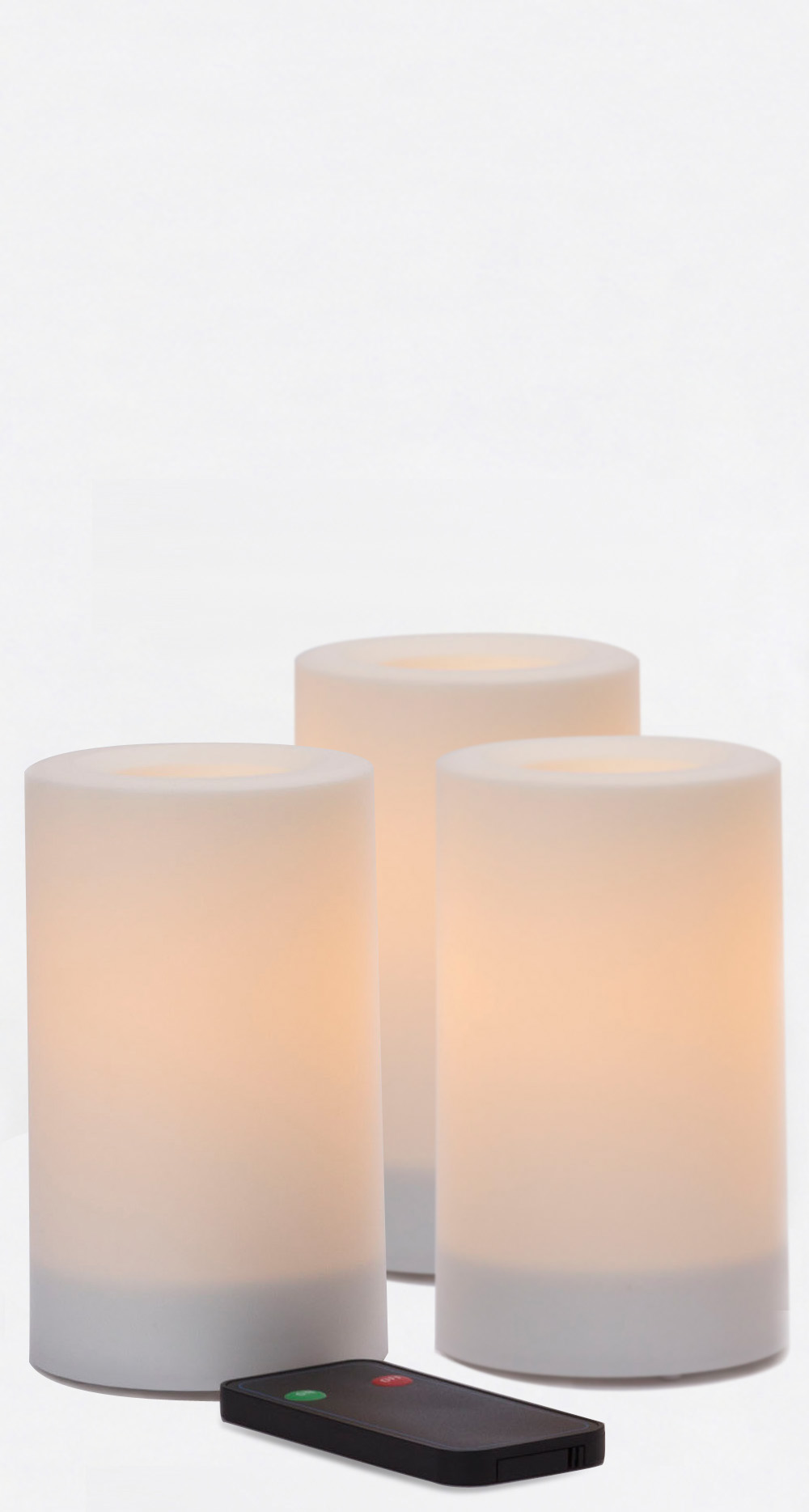 5 Inch Flameless Remote Control Outdoor Pillar Candles - White - 3 Pack