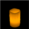 5 Inch Flameless Pillar Candle with Timer - Melted Edge - Yellow