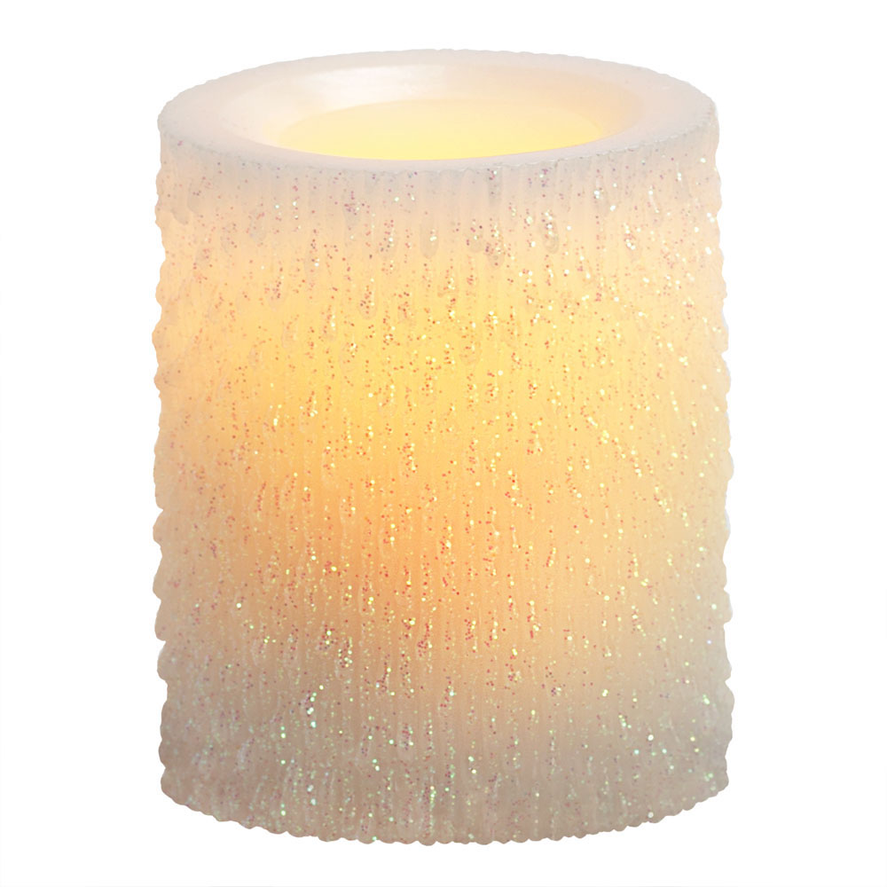 4 Inch Flameless Iridescent Icicle Pillar Candle with Timer - White Unscented