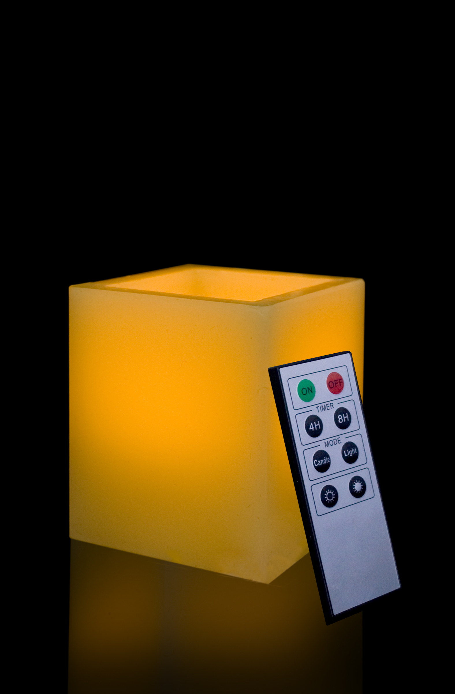 4 Inch Flameless Remote Control Square Pillar Candle - Yellow