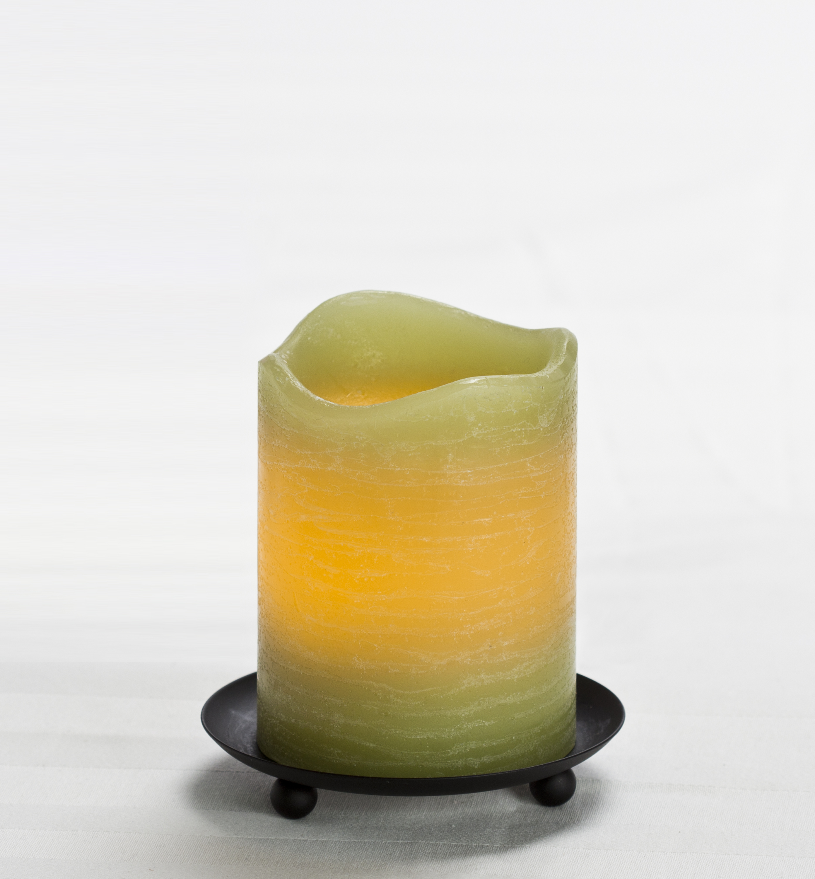 4 Inch Flameless Rustic Pillar Candle with Programmable Timer - Green with Citrus Sage Scent