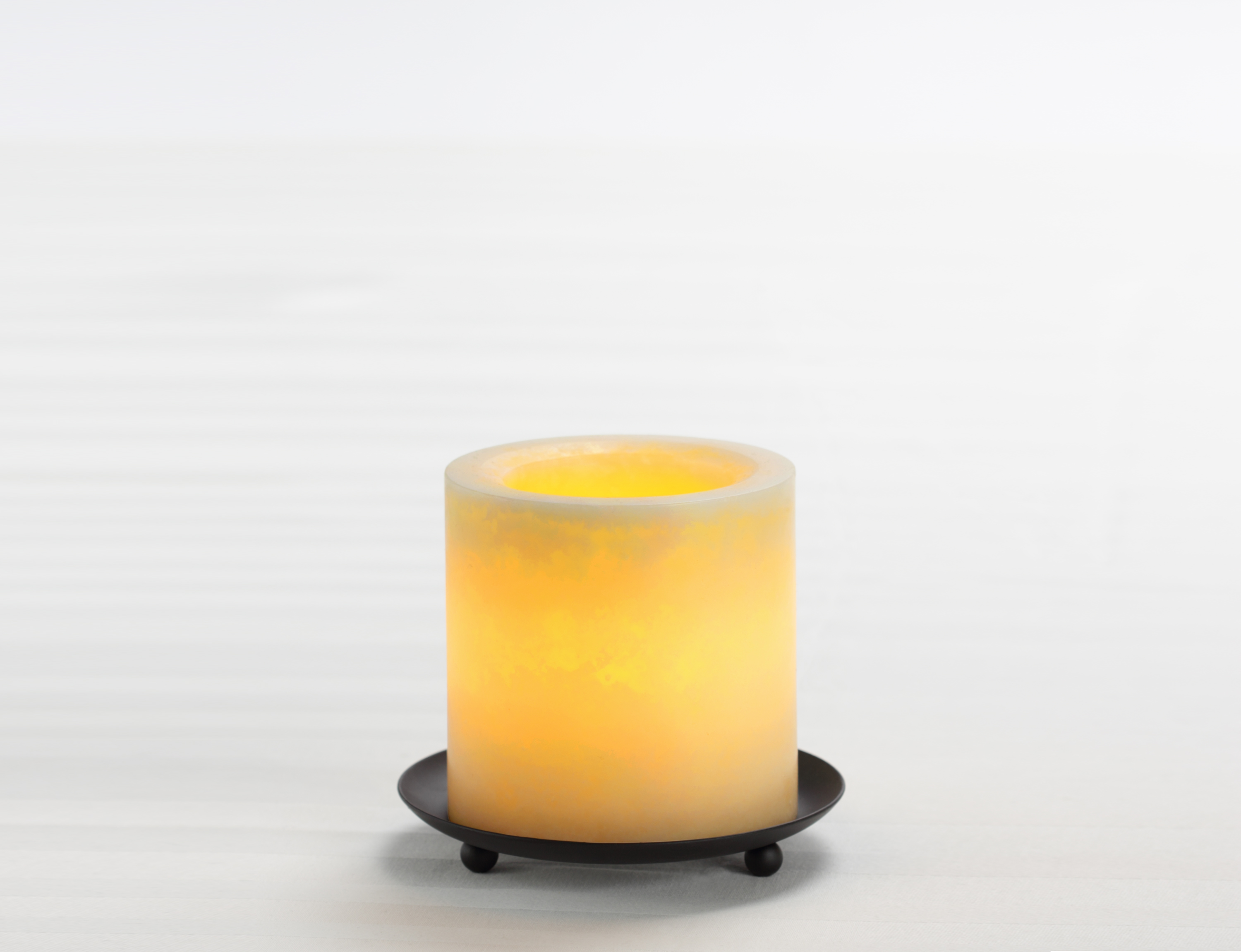 4 Inch Flameless Mottled Finish Pillar Candle with Timer - Cream Unscented