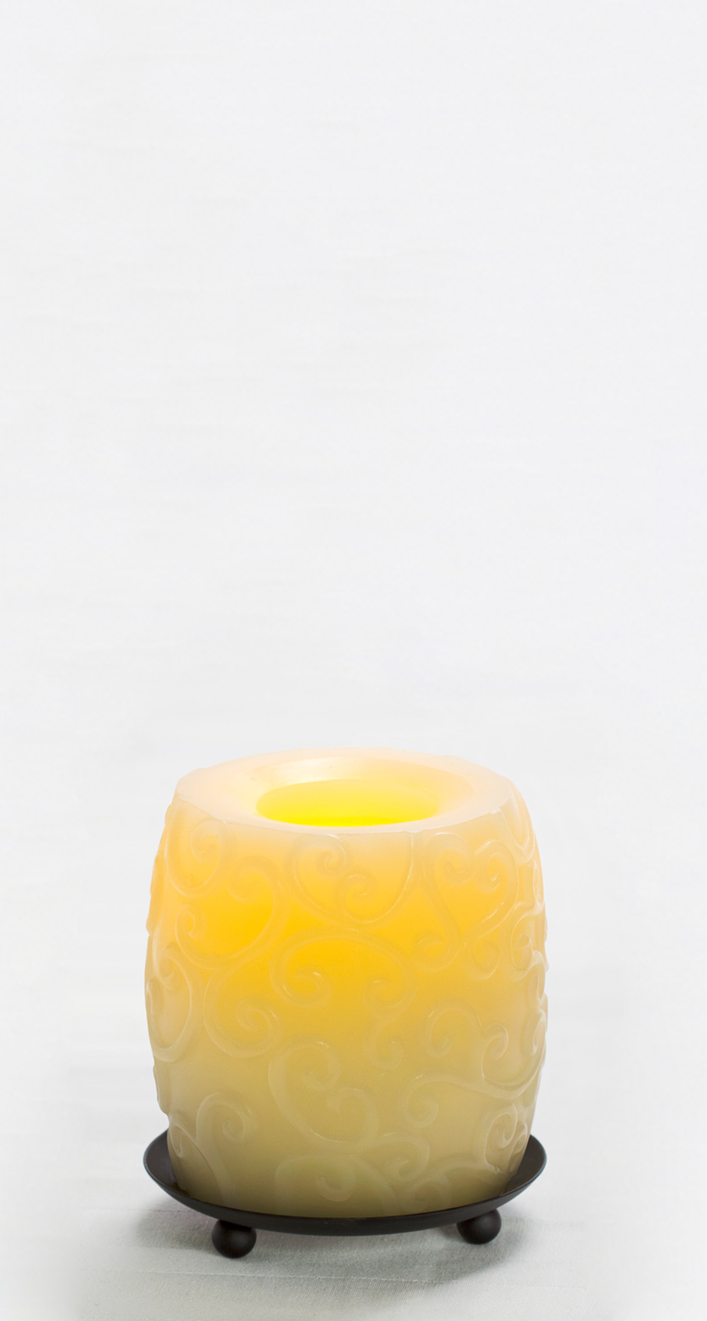 4 Inch Flameless Striped Hurricane Candle with Timer - Cream with Vanilla Scent