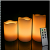 4-5-6 Inch Variety Pack Flameless Remote Control Pillar Candles - Curved Edge - Yellow
