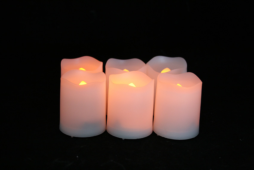 2 Inch Flameless Votive Candles with Timer - White - 6 Pack