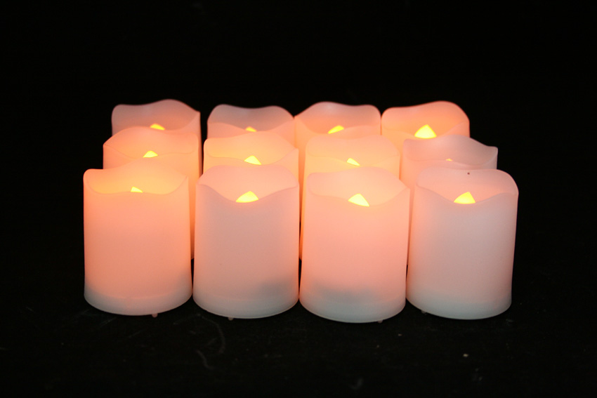 2 Inch Flameless Votive Candles with Timer - White - 12 Pack