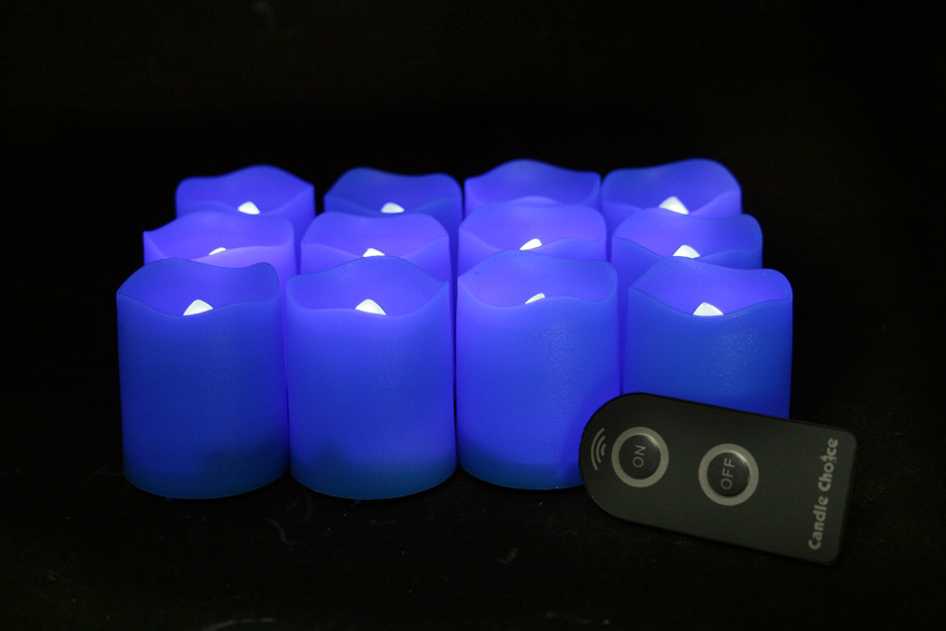 2 Inch Flameless Remote Control Votive Candles - Blue - 12 Pack