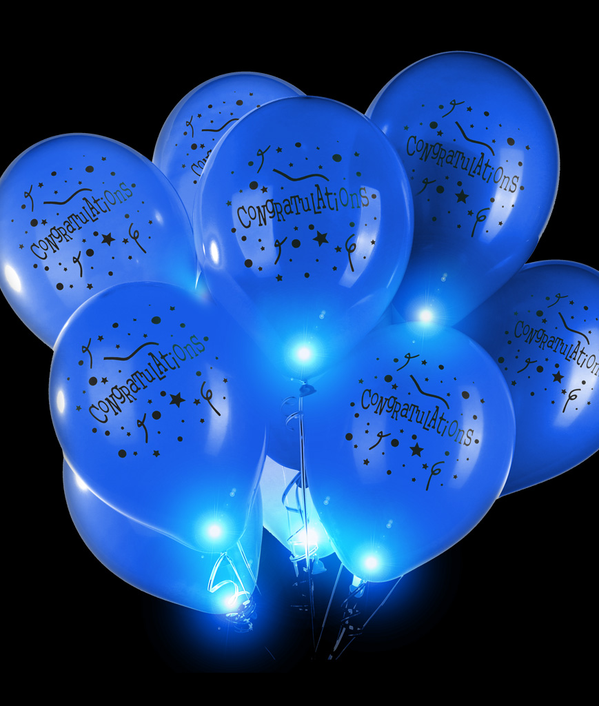 LED 14 Inch Blinky Balloons Congratulations -Blue